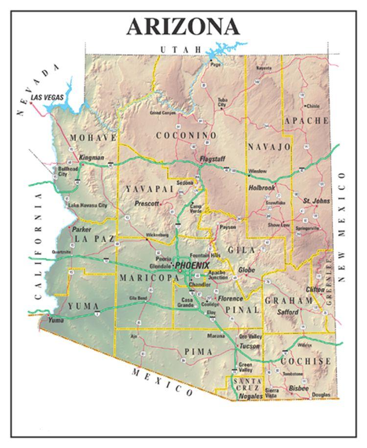 arizona state map Google Search Arizona Pinterest Grand canyon