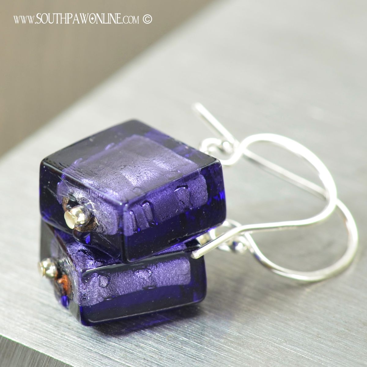 Purple Murano glass earrings with 14K white gold lining