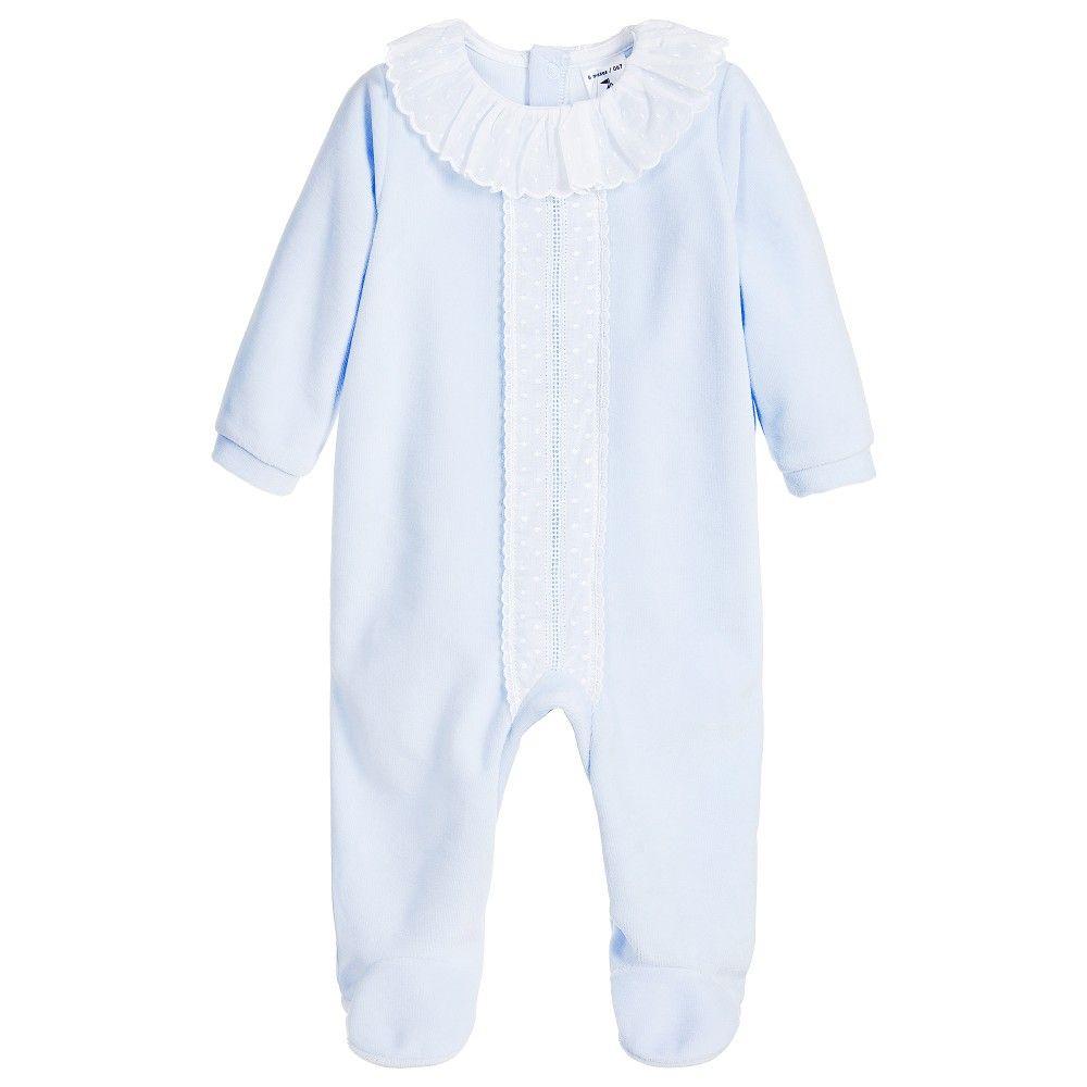308ada54ebdb BABIDU Pale Blue Velour Babygrow with Frill Collar