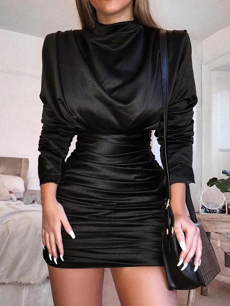f56c0b5246c11 Long Sleeve Slit Back Ruched Party Dress Fashion Trends