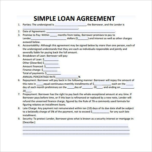 Simple Loan Contract Template   Great Loan Agreement Template