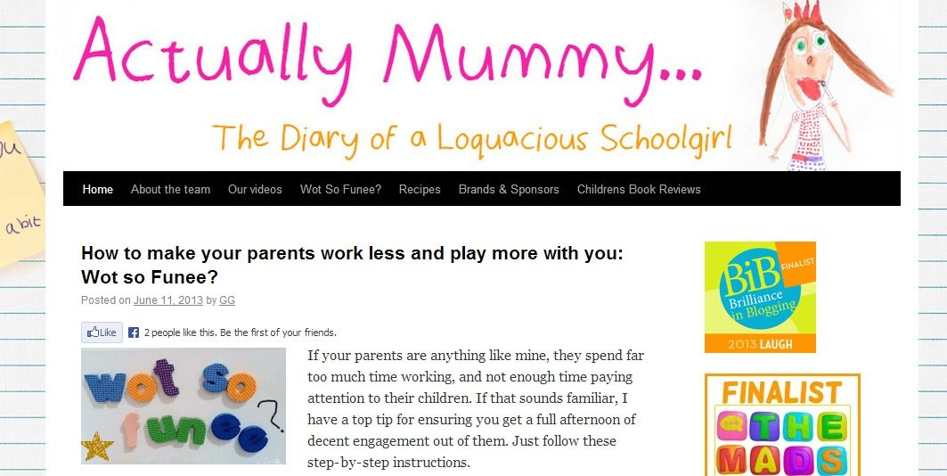 Actually Mummy - A blog written through the voice of a young daughter