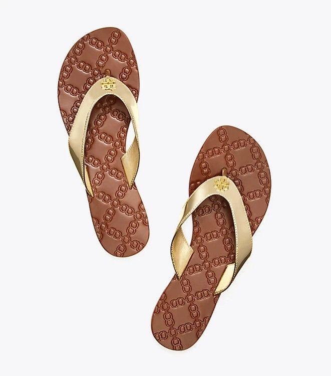 9e64fb01a3d54 New Tory Burch Mirror Metallic Monroe Thong Sandals Spark Gold Size 11   ToryBurch  Thong