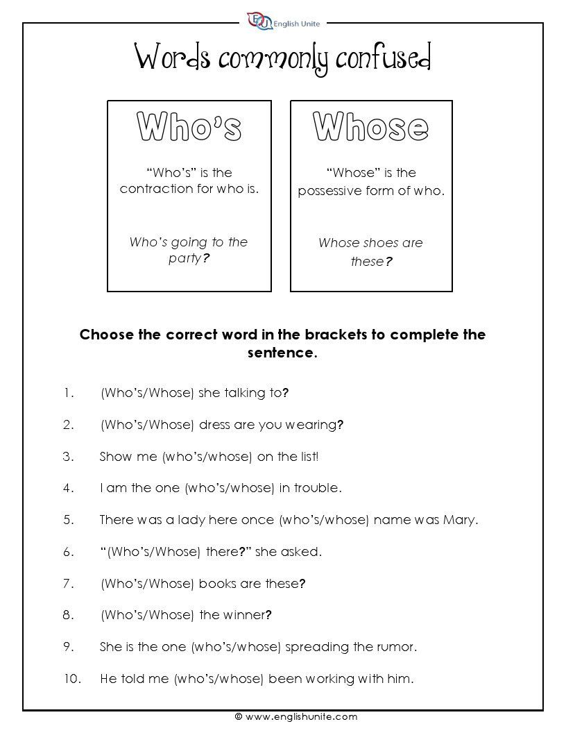 Words Often Confused Who S And Whose English Unite Words Word Usage Vocabulary Worksheets