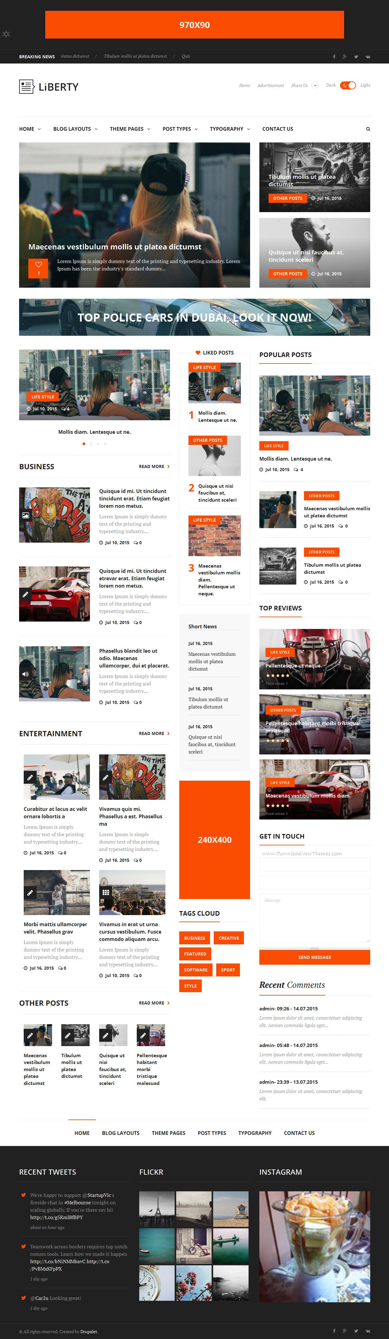Liberty News Magazine Blog Drupal Theme Drupal Website Designs - News website design template