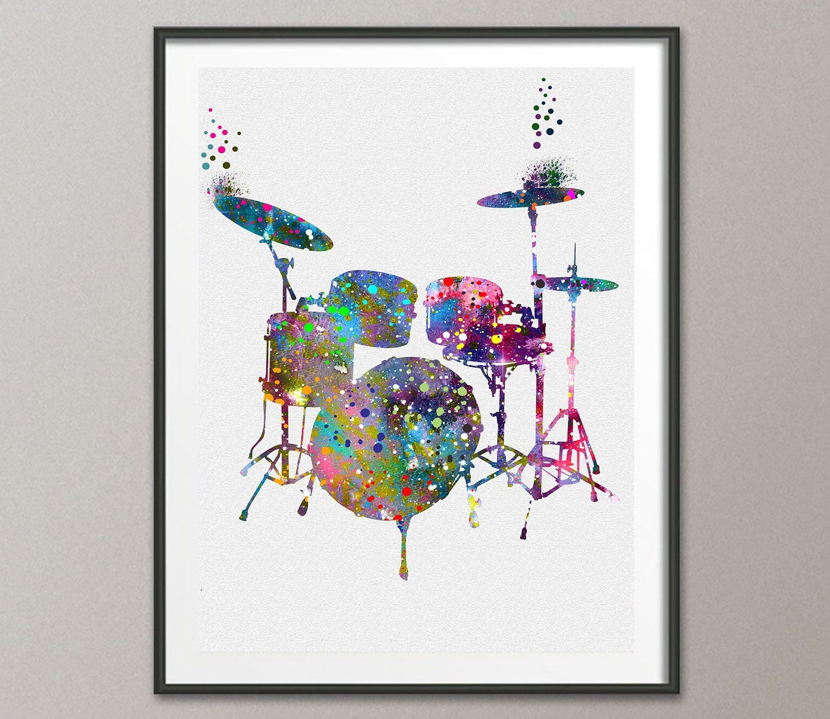 Drums Watercolor Poster Art Print Wall Decor Artworks Dining Room Hanging Kitchen