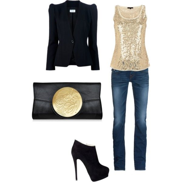 night out by misty08 on Polyvore featuring moda, Coast, Thierry Mugler, True Religion, Giuseppe Zanotti and Dareen Hakim