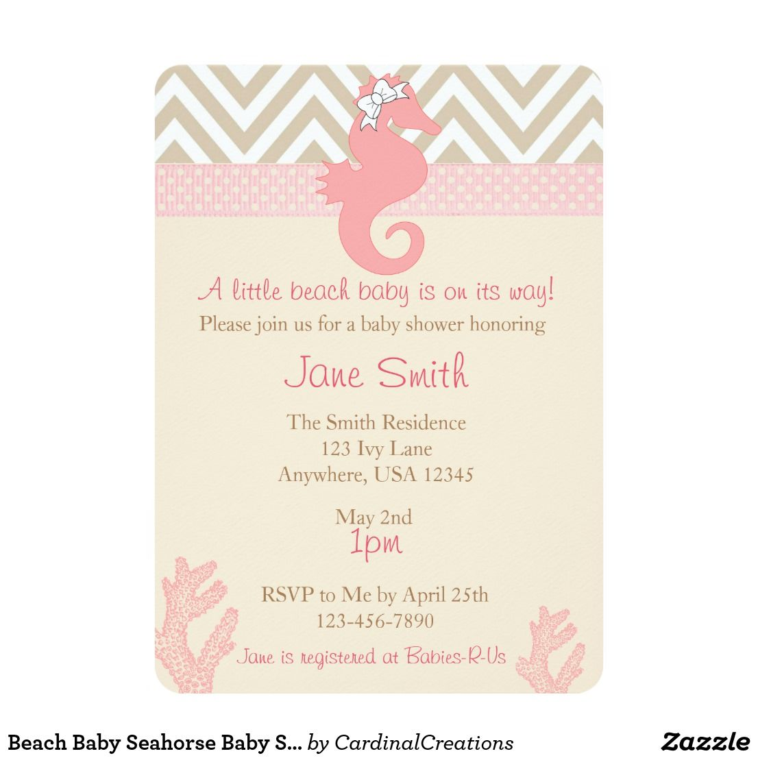 Beach Baby Seahorse Baby Shower Invitation Pinterest Baby