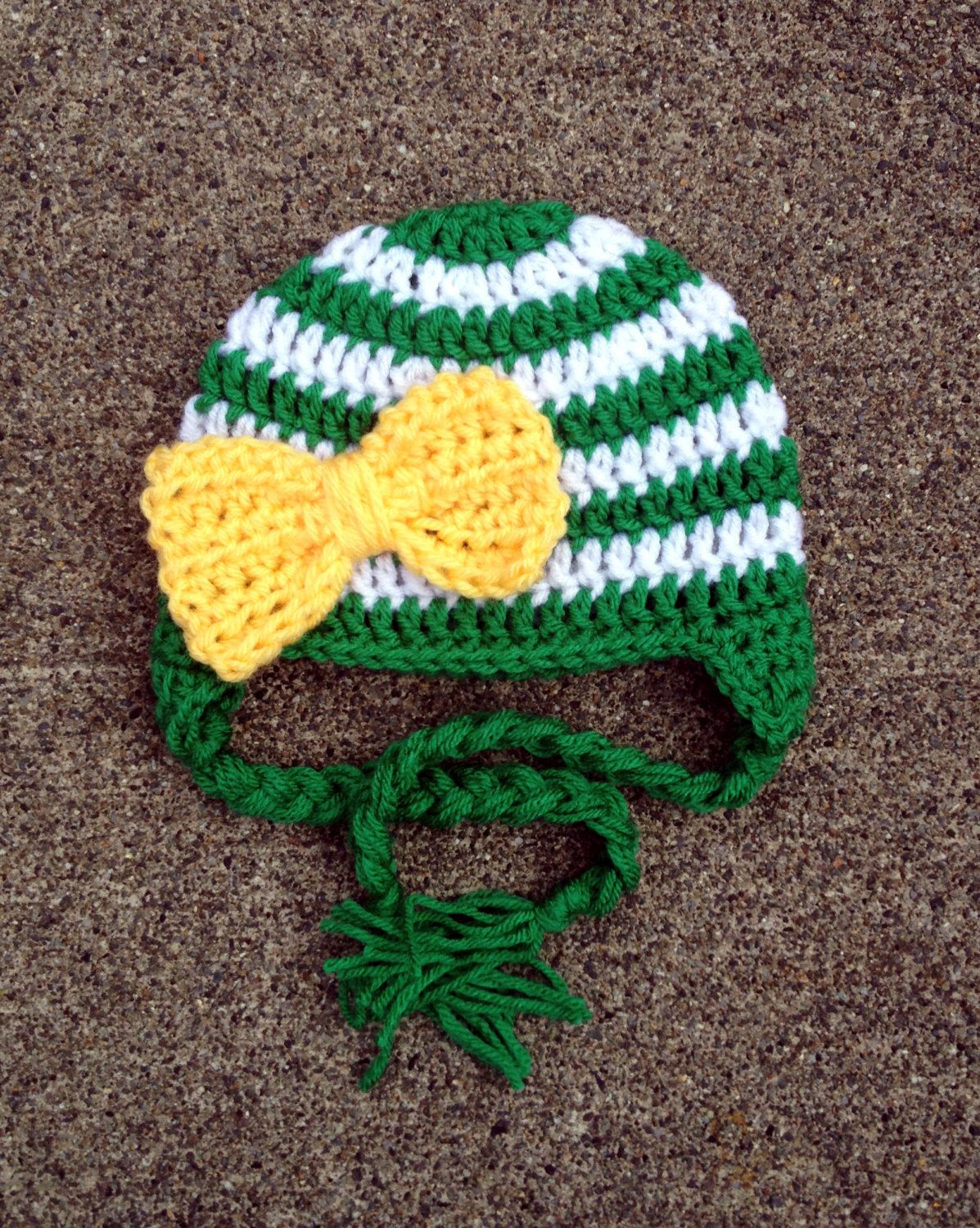 Oregon Ducks Inspired Stripe Big Bow Beanie In Green Yellow And White Available In Newborn To 5 Year Size Made To Order Big Bows Crochet Yarn Yarn