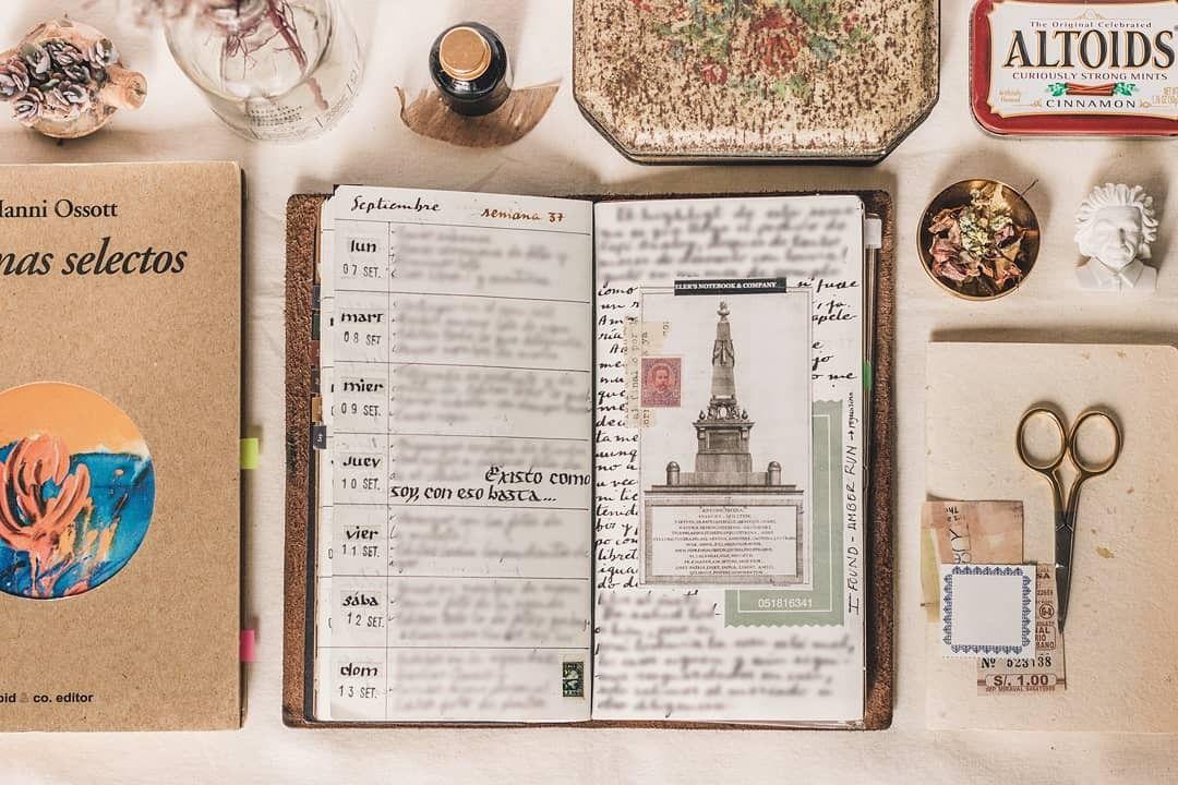 (@hebra.escondida) #bulletjournal #bujo #vintage #travelersnotebook