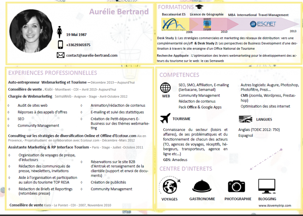 cv aur u00e9lie bertrand webmarketing tourisme