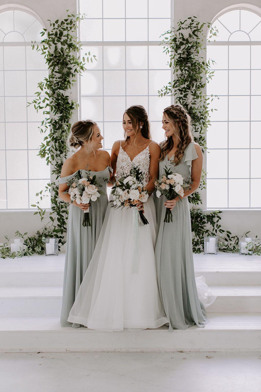Minimal bridesmaid dresses at a new wedding chapel in