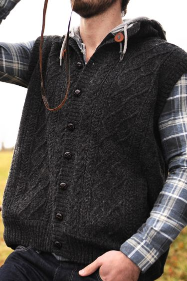 Carraig Donn Irish Aran Mens Wool Sweater Lined Cable Knit Vest ...