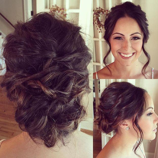 Bridal Updo - Brunette Wedding Hairstyle - Fave4 + Joico, Brown Hair Updo, Bride, Bridal Hair, Beachy Updo, Loosely Curled Wedding Hair, Wedding Hairstyle www.TeaseandMakeup.com