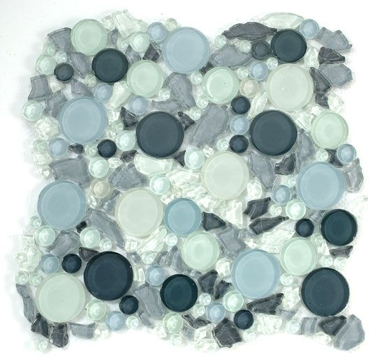 Lagoon Round Bubble Leaf Shape Gl Mosaic Tile Lg805a Dawn