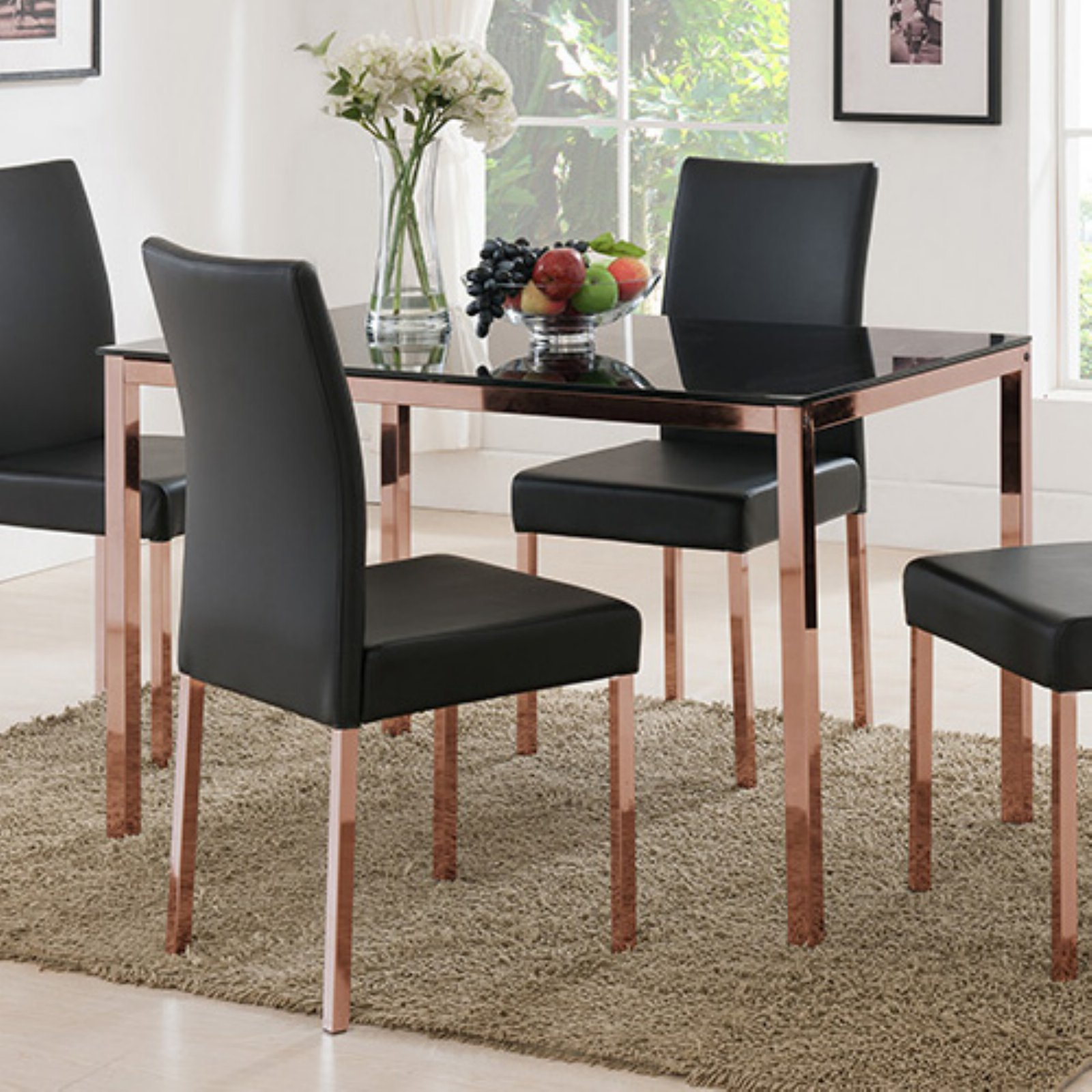 K&B Furniture D919-05 Rose Copper/Black Glass Top Dining ...