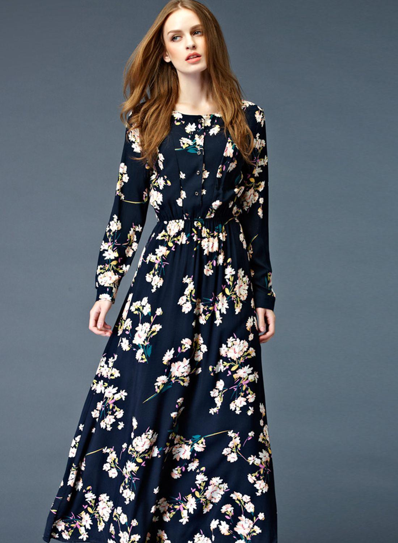 Floral print elastic waist long sleeve button down maxi dress maxi