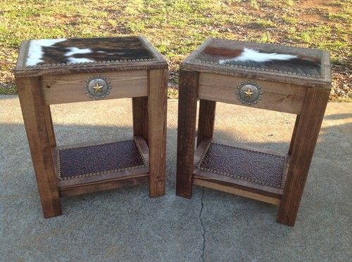 Set Of 2 Occasional End Tables Exotic Cowhide Star Concho Western Decor |  EBay