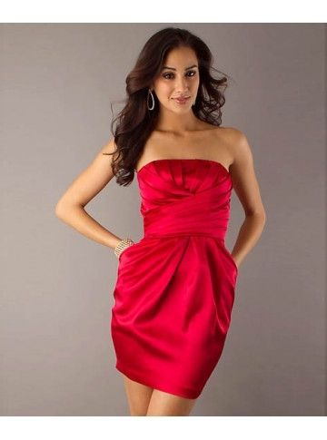 Draped Criss-Cross Strapless homecoming Dress