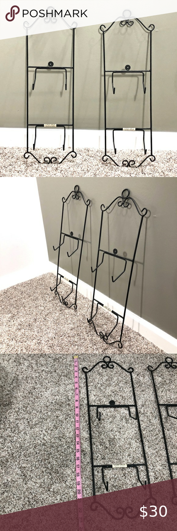 NEW Set of 2 Vertical Plate Racks These are new, never used. Set of 2 Vertical Plate Racks Can be used for plates or artwork. The simple scrolls upon the Plate Rack enhance the beauty of your decorative plates without distracting from their charm. Accents