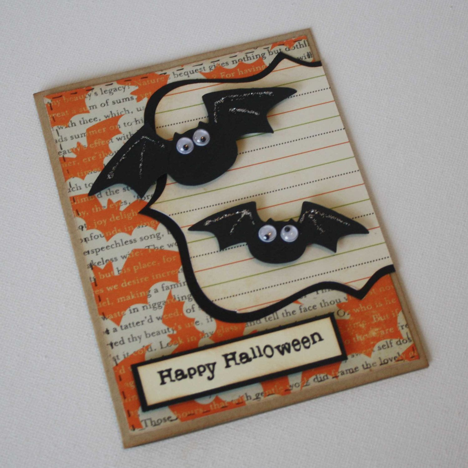 etsygreetings handmade cards halloween greeting card bats - Handmade Halloween Cards Pinterest