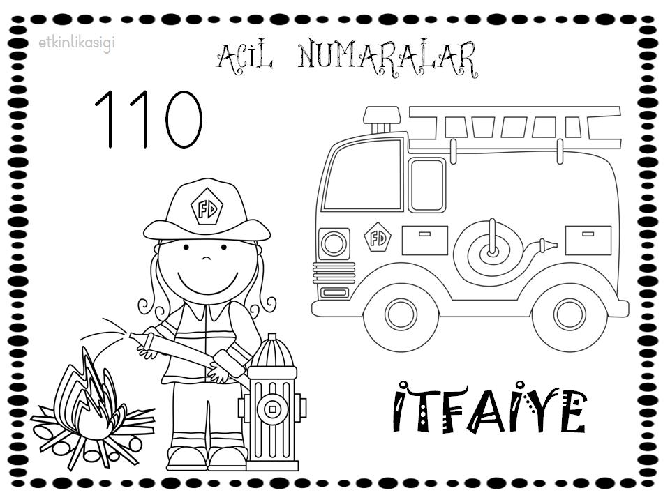 Itfaiye Boyama Sayfası 110 112 155 Pinterest Kinder Feuerwehr