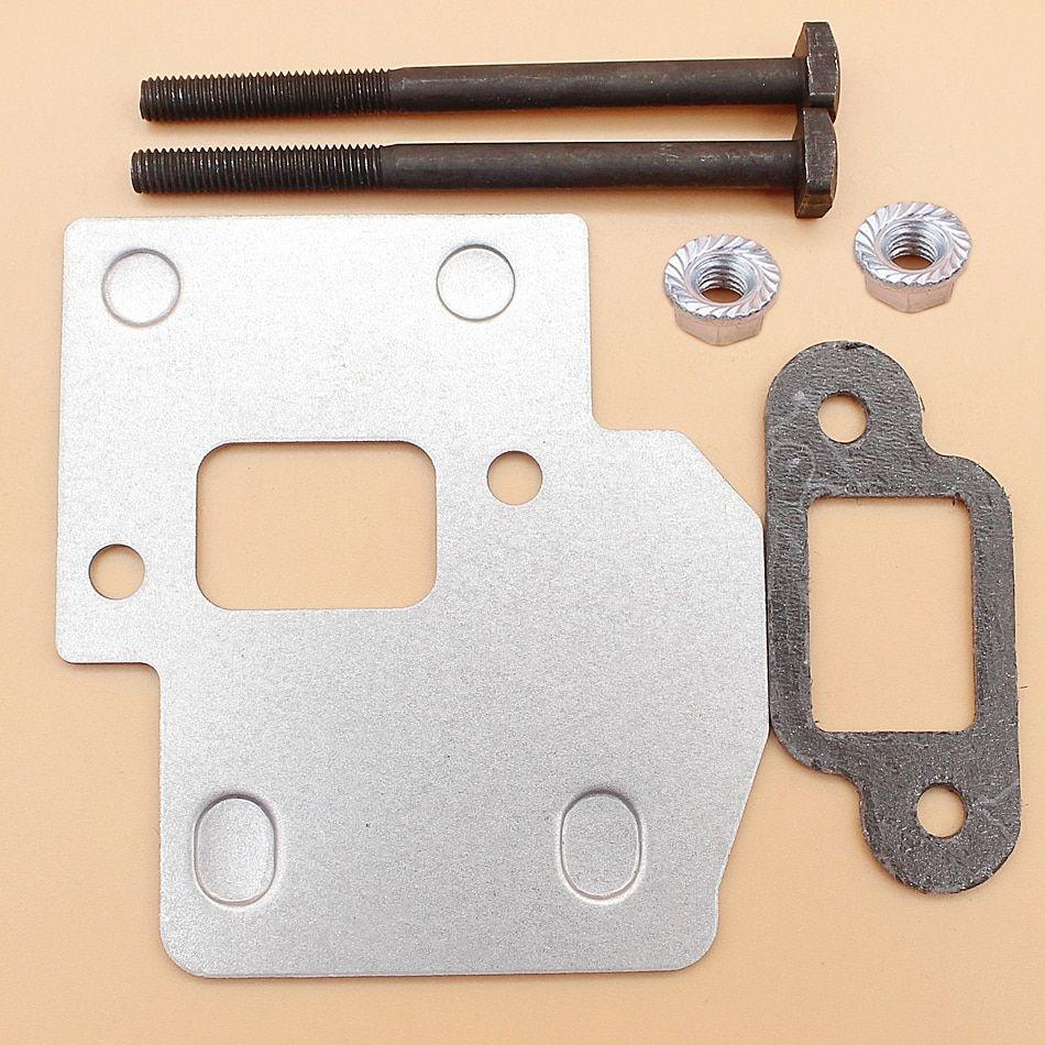 Muffler Exhaust Bolt Plate Shield Gasket Kit Fit STIHL MS250