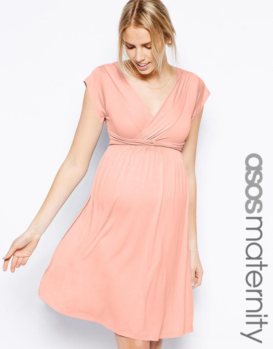 Maternity Exclusive Skater Dress With Twist Detail | Pregnancy party ...