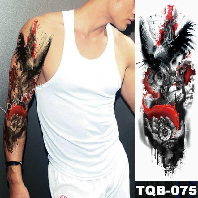 Large Arm Sleeve Tattoo Lion Crown King Rose Waterproof Temporary Tatoo - 18-TQB-075