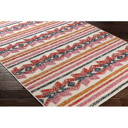 Mayan Star Hand Tufted Poppy Red Tangerine Area Rug By Artistic Weavers