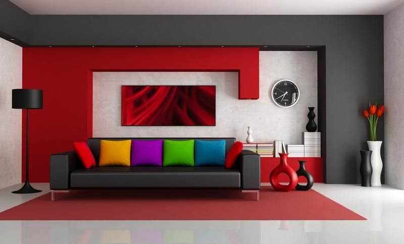 Red Wall  Decor Paint Interiors With Dash Of White  Spaceio Impressive Red Living Room Designs Review
