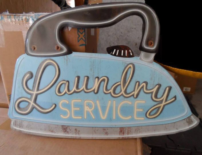 Giant Old Style Iron Vintage Metal Laundromat Laundry Service Room Store Sign Store Signs Room Store Vintage Metal