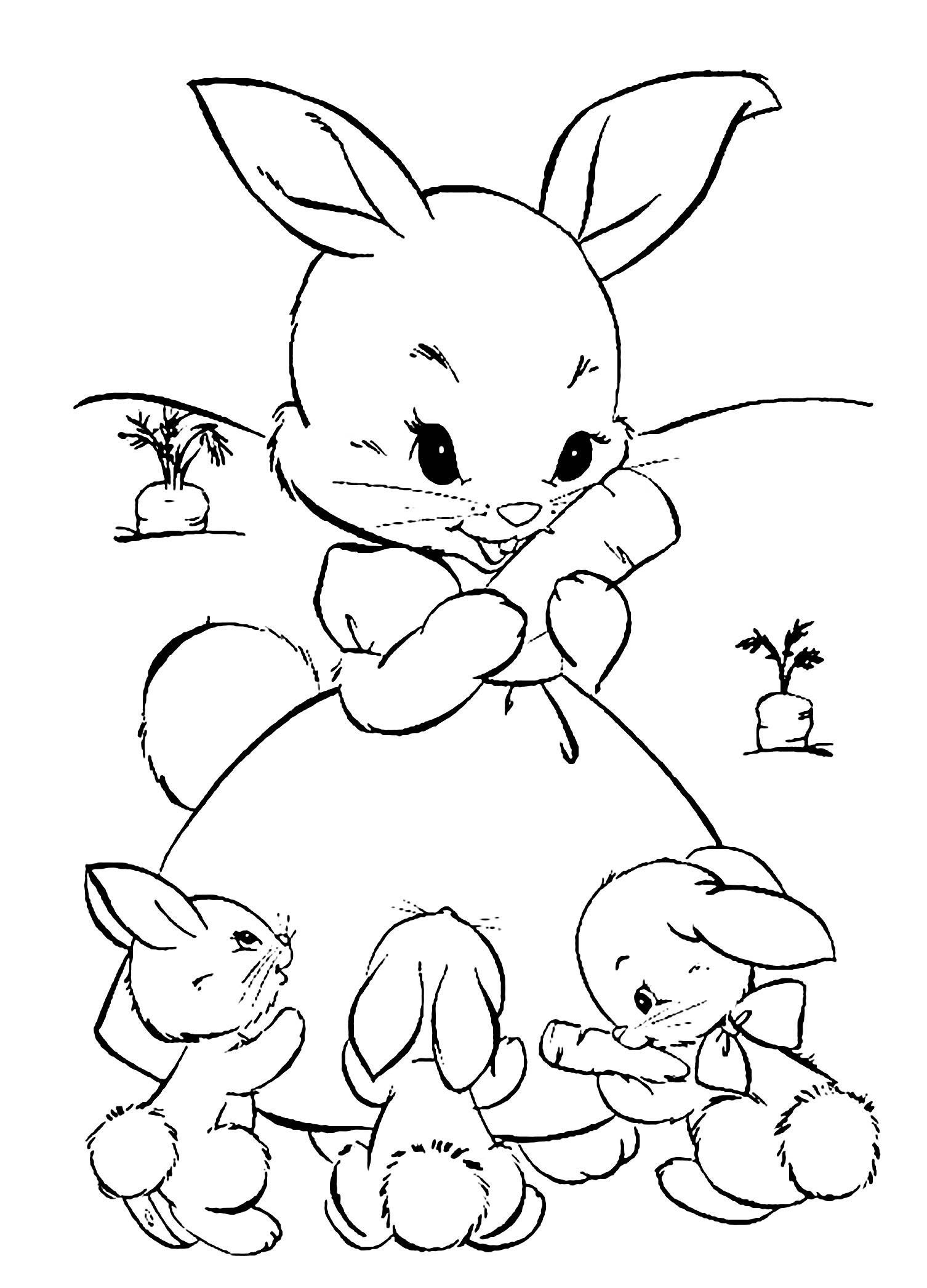 Bunny Coloring Pages For Kids Coloring Pages Rabbit Free To Color For Kids Coloring In 2020 Easter Bunny Colouring Bunny Coloring Pages Cute Coloring Pages