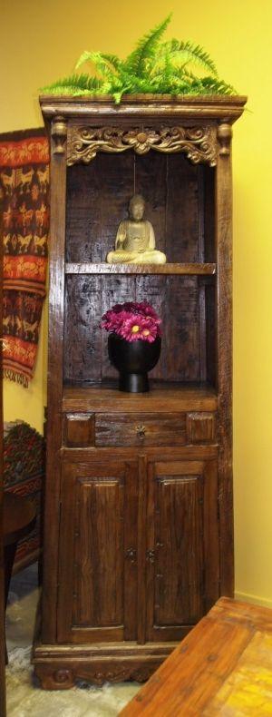 Buddha in Tall Carved Bookcase/Altar Cabinet | Gado Gado | Buddha ...