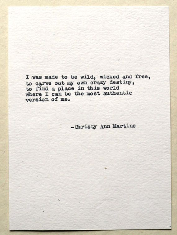 Wild, Wicked and Free Poem Hand Typed With Antique Typewriter ~~~~~~~~ Hi, I'm Christy, a writer and poet. I've written all of the poems you see in my shop. I will type out this poem with my 1936 Remington typewriter onto off-white handmade cotton paper for a wonderful vintage look.