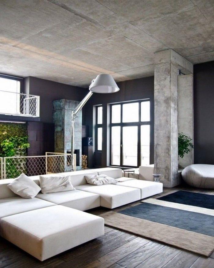 Wohneinrichtung Ideen mit Wandverkleidung aus Beton und