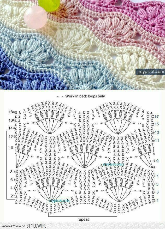 Puntada ondulada | croché | Pinterest | Croché, Ganchillo y ...