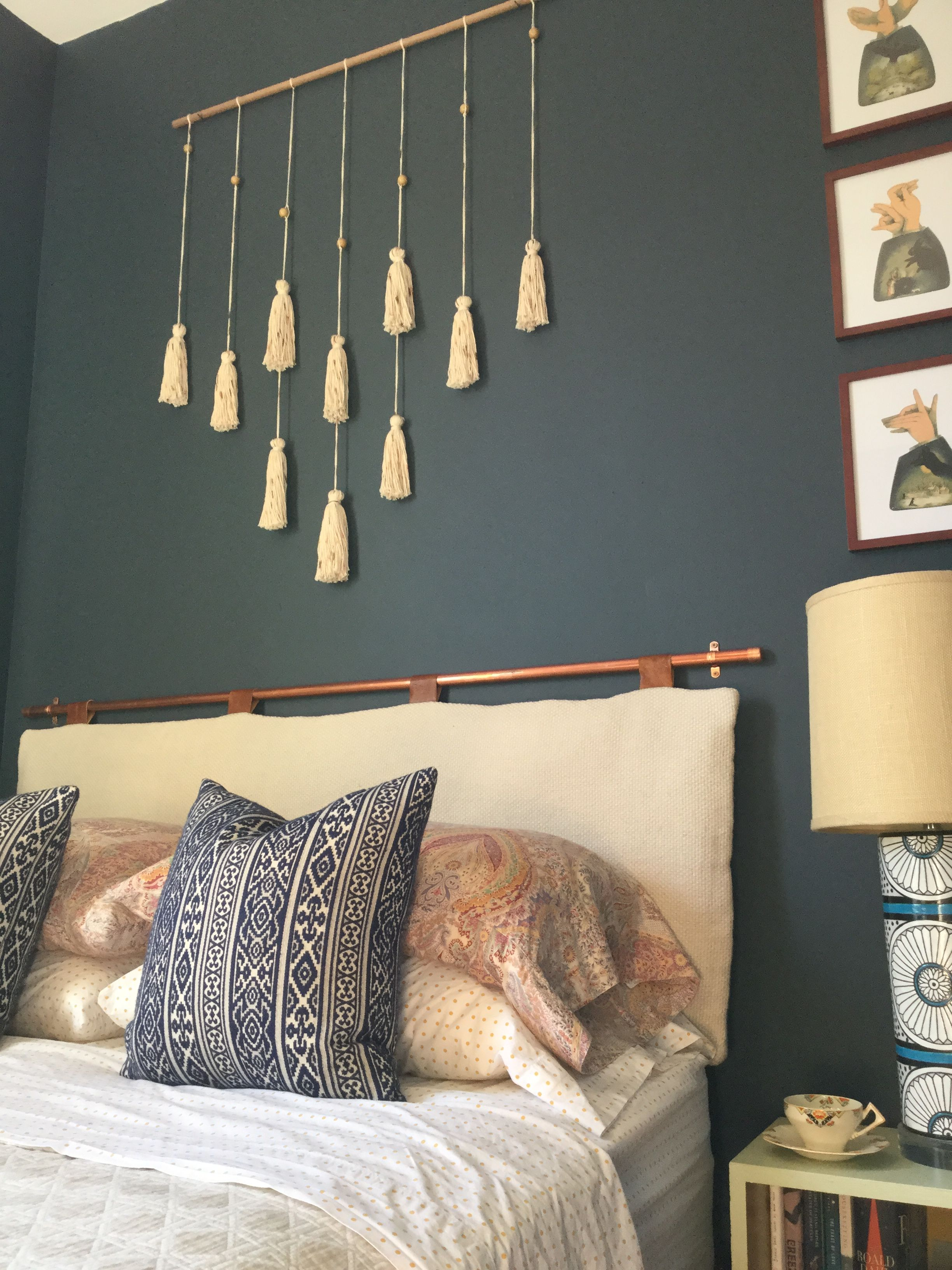 DIY headboard with copper pipe Sarah montgomerycom DIY