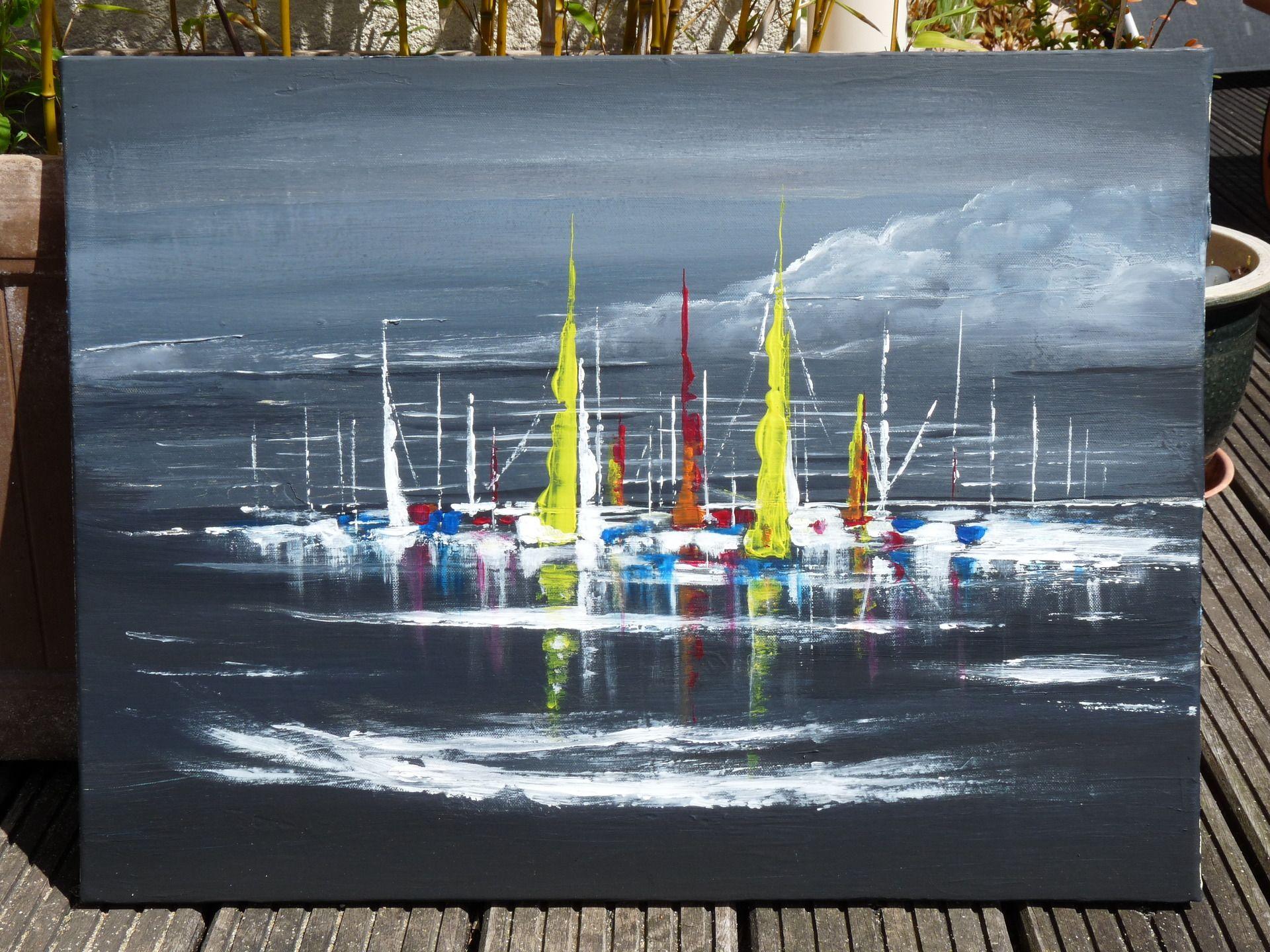 Tableau Voiliers Colores Numerote 1 Acrylique 61x46 Art Peint