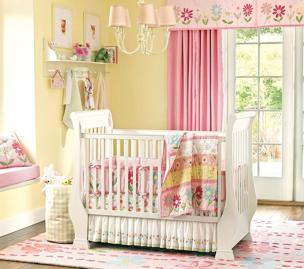 Baby girl nursery ideas with yellow paint colors and pink curtains ...