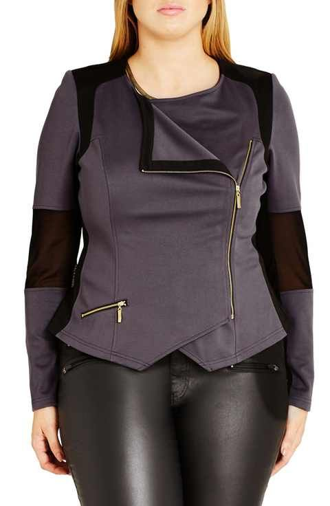 cfd7bfb155e City Chic  Mono  Ponte Moto Jacket (Plus Size)
