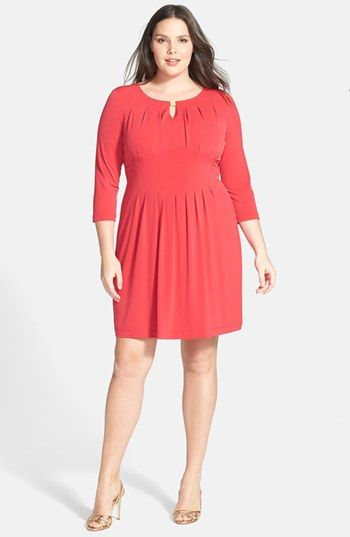 Tahari Matte Jersey Keyhole Dress (Plus Size ...