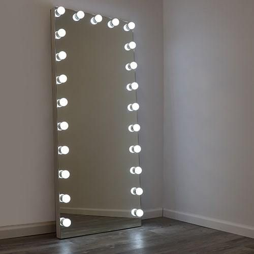 Hollywood Led Full Length Floor Mirror, White Floor Mirror With Lights