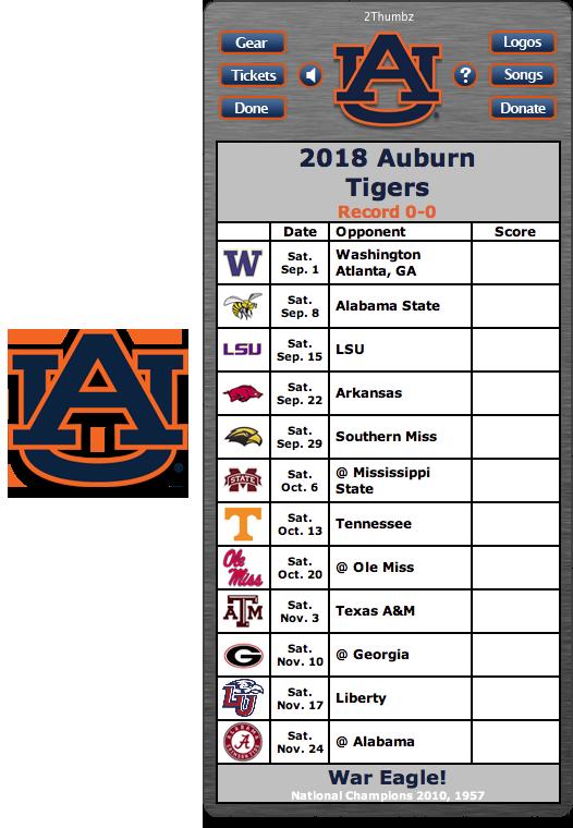 Get your 2018 Auburn Tigers Football Schedule Dashboard