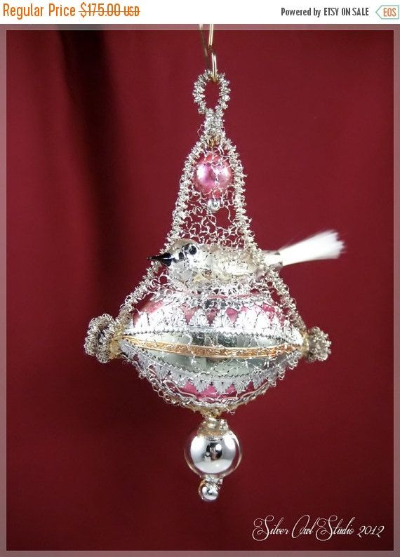 ON SALE Victorian Christmas Ornament - Silver Bird || Victorian ornament,  handmade, vintage, antique, feather tree, wire wrapped - ON SALE Victorian Christmas Ornament - Silver Bird |Victorian