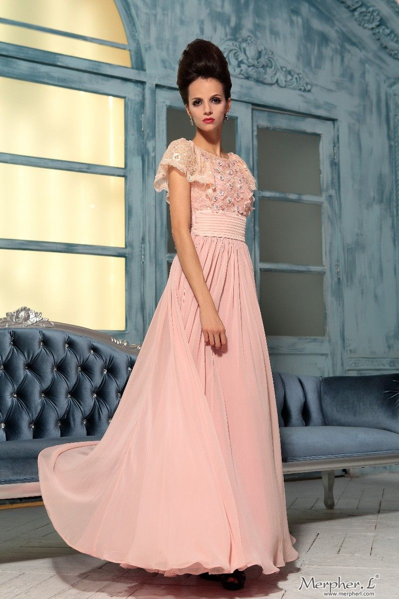 Peach Pink Short Sleeve Lace Chiffon Elegant Prom Ball Party Long ...