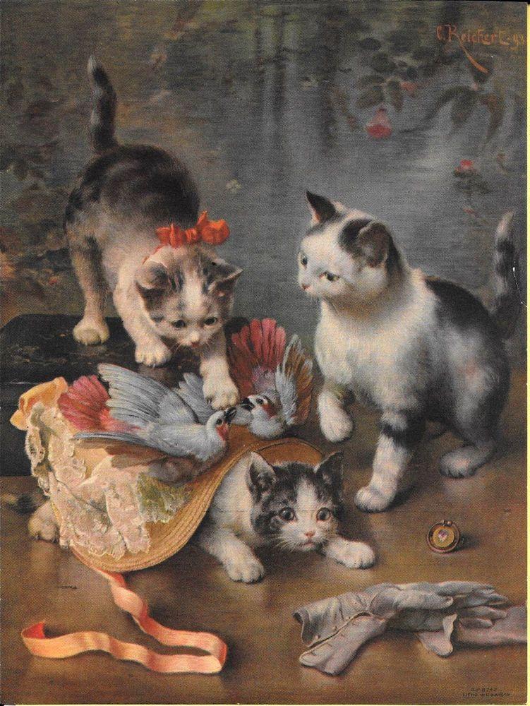 16 x 20 Art Print of Vintage Art Reichert Mischievous Kittens by C