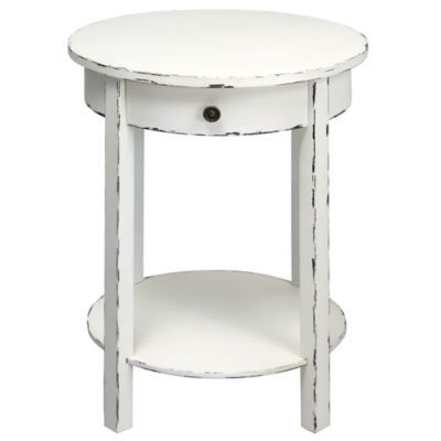 Round 2 Tier Wooden Accent Table In Distressed White   BedBathandBeyond.com