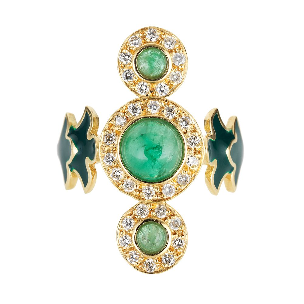 Trinita Verde18k yellow gold ring set with white diamonds, green tourmalines and green enamel.D: 0.34ct.       GT: 0.25ct.