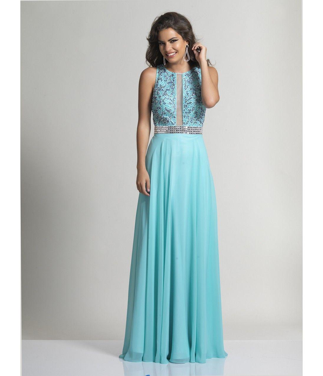 Aqua Blue Sleeveless Keyhole Chiffon Long Dress | Beauty in Blue ...